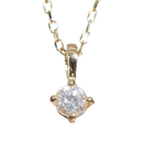 シンプルダイヤモンドネックレス/K10YG